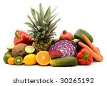 fruit and vegetables on a pile... | Shutterstock . vector #30265192