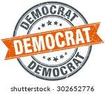 democrat round orange grungy...
