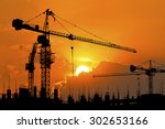 silhouette of construction site ... | Shutterstock . vector #302653166