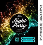 night disco party poster... | Shutterstock . vector #302655935