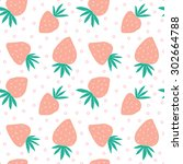 hand drawn strawberry seamless... | Shutterstock .eps vector #302664788