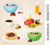 breakfast set with yogurt... | Shutterstock .eps vector #302667272