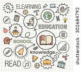 education hand draw integrated...   Shutterstock .eps vector #302684792