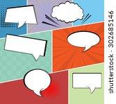 comic speech bubbles on a comic ... | Shutterstock .eps vector #302685146