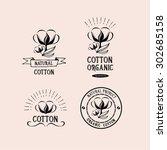 cotton badges design  organic... | Shutterstock .eps vector #302685158