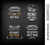 hot dog badges and menu design... | Shutterstock .eps vector #302685212