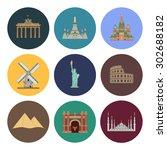 8 flat landmark icons | Shutterstock .eps vector #302688182