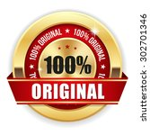 gold 100 percent original badge ... | Shutterstock .eps vector #302701346