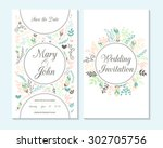 wedding invitation  thank you... | Shutterstock .eps vector #302705756