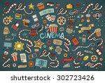 colorful vector hand drawn... | Shutterstock .eps vector #302723426