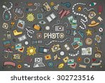 colorful vector hand drawn... | Shutterstock .eps vector #302723516