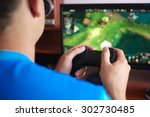 man hand playing a computer... | Shutterstock . vector #302730485