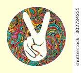 hippie style. ornamental... | Shutterstock .eps vector #302734325