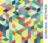 3d blocks structure background. ... | Shutterstock .eps vector #302744846