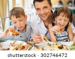 portrait of happy father with... | Shutterstock . vector #302746472
