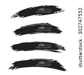 set of hand drawn grunge brush... | Shutterstock .eps vector #302747552