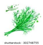 hand drawn watercolor... | Shutterstock . vector #302748755