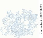 hand drawn floral  detailed... | Shutterstock .eps vector #302758022