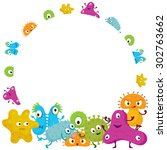 cute germ characters frame and... | Shutterstock .eps vector #302763662