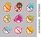cute germ characters... | Shutterstock .eps vector #302763665