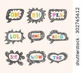 hand drawn speech bubble set... | Shutterstock .eps vector #302765612