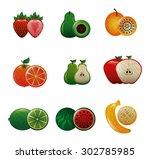 sweet fruits design  vector...   Shutterstock .eps vector #302785985