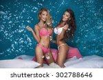 beautiful sexy two girls having ... | Shutterstock . vector #302788646