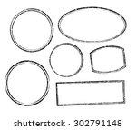 set of six grunge vector... | Shutterstock .eps vector #302791148
