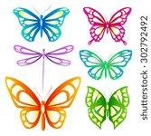 butterflies design | Shutterstock . vector #302792492