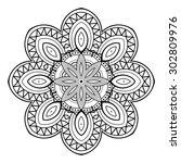 vector beautiful deco mandala.... | Shutterstock .eps vector #302809976