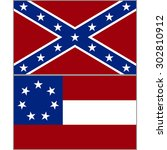 flags of the confederacy during ... | Shutterstock .eps vector #302810912
