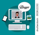 blogger digital design  vector... | Shutterstock .eps vector #302812232