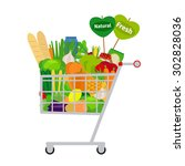 supermarket shopping cart with... | Shutterstock . vector #302828036
