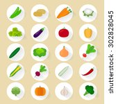 vegetables flat icons with long ... | Shutterstock . vector #302828045