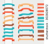ribbons in retro flat style for ... | Shutterstock . vector #302828072