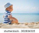 little baby boy sitting on the... | Shutterstock . vector #302836535