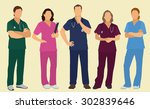 nurses or surgeons wearing... | Shutterstock .eps vector #302839646