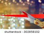 scissors cutting red ribbon | Shutterstock . vector #302858102