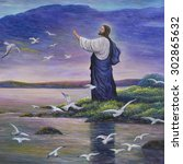 jesus feeds birds  original oil
