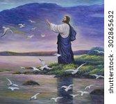 jesus feeds birds  original oil