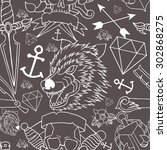 tattoo seamless pattern with... | Shutterstock .eps vector #302868275