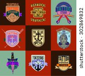 made tattoo logos and badges... | Shutterstock .eps vector #302869832