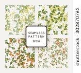 set of vector seamless patterns ... | Shutterstock .eps vector #302870762