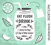 detox fat flush water recipe.... | Shutterstock .eps vector #302871296