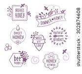 summer floral honey labels ... | Shutterstock .eps vector #302874608