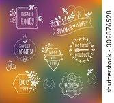 summer floral honey labels ... | Shutterstock .eps vector #302876528