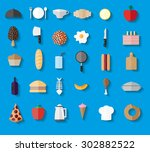food and drink vector flat... | Shutterstock .eps vector #302882522