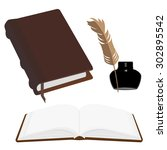 brown old leather book with... | Shutterstock .eps vector #302895542