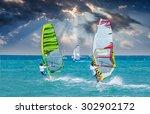 windsurfing in alacati  cesme ... | Shutterstock . vector #302902172
