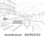 linear architectural sketch...   Shutterstock .eps vector #302903762